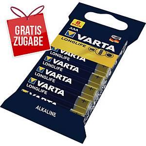 Batterie Varta Micro LR03/AAA, 1,5 Volt, Longlife Extra, Alkali, 8 Stück