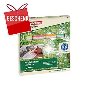 Leuchtmarker Edding Ecoline 24, Keilspitze, Strichbreite 2-5 mm, 4er-Set, ass.