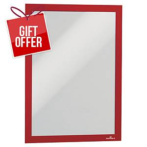 Duraframe Adhesive Frame, A4, Red, Pack of 2