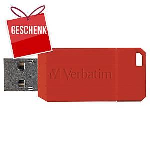 USB-Stick Verbatim 49063 Pinstripe, Speicherkapazität: 16GB, rot