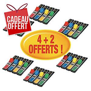 Lot 6 packs (4+2 offerts) distributeurs marque-page Post-it etroits coloris ass