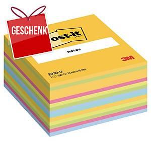 3M Post-it® 2030 Klebezettel im Würfelblock, 76x76mm, bunt, Pack. 450 Blatt