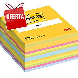 Cubo de 450 notas adesivas Post-it cores ultra neón Dimensões: 76x76 mm