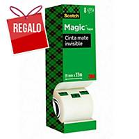 Pack 7+1 rollos de cinta adhesiva invisible Scotch Magic - 19 mm x 33 m