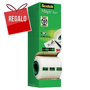 Pack 8 rollos de cinta adhesiva invisible Scotch Magic - 19mmx33m