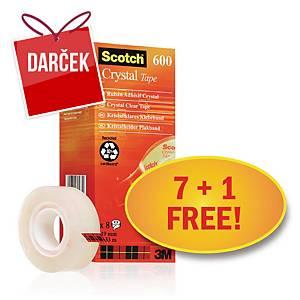 Lepiace pásky Scotch Crystal - zvýhodnené balenie 8 kusov (7 + 1 zadarmo)