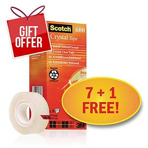 Scotch Crystal Tape 19Mmx33M - Pack Of 8 (Includes 1 Free Roll)