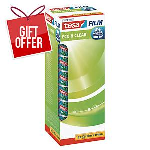 Tesa Eco Clear Tape 19mmx33M - Pack of 8 (Includes 1 Free Roll)