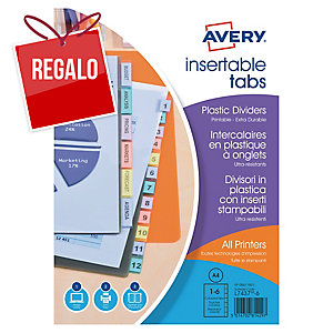 Juego de 6 separadores personalizables Avery - A4 - PP