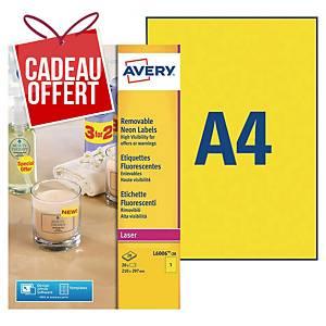 Etiquette enlevable Avery - L6006-20 - 210 x 297 mm - jaune fluo - par 20