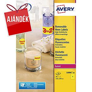 Avery L6006-20 neonsárga etikettek 210 x 297 mm, 1 etikett/ív, 20 ív/csomag