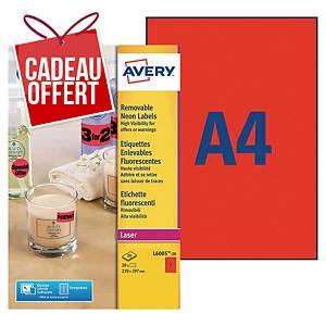 Etiquette enlevable Avery - L6005-20 - 210 x 297 mm - rouge fluo - par 20