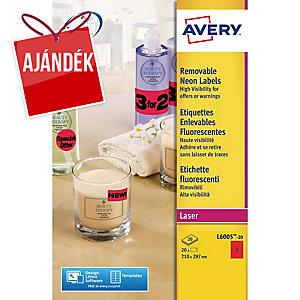 Avery L6005-20 neonpiros etikettek 210 x 297 mm, 1 etikett/ív, 20 ív/csomag