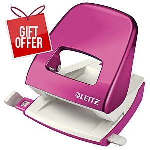 LEITZ NEXXT WOW 2-HOLE PUNCH PINK
