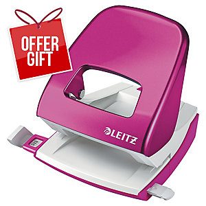 Leitz WOW Hole Punch 2-Hole Pink