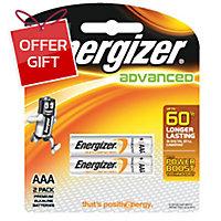 ENERGIZER X92 ADVANCE ALKALINE BATTERIES AAA PACK OF 2