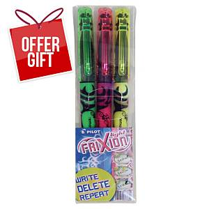 Pilot Frixion Light Erasable Highlighter Assorted Colours - Wallet of 3