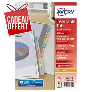 Intercalaire Avery A4 - personnalisable - polypropylène - 8 touches