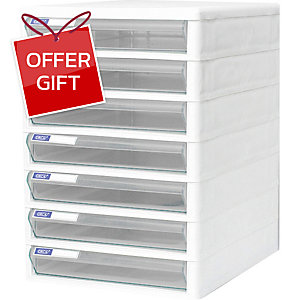 ORCA TCB-7 CABINET 7 DRAWERS WHITE/CLEAR