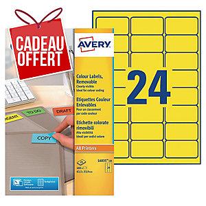 Etiquette enlevable Avery - L6035-20 - 63,5 x 33,9 mm - jaune - par 480