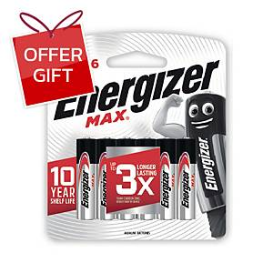 ENERGIZER Max E92 Alkaline Batteries AAA Pack Of 6