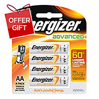 ENERGIZER X91 ADVANCE ALKALINE BATTERIES AA PACK OF 4