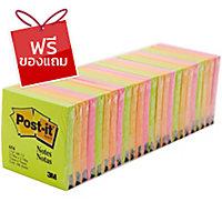 POST-IT กระดาษโน้ต 654-24VAD 3  x3   คละสีสะท้อนแสง 100แผ่น/เล่ม 24เล่ม