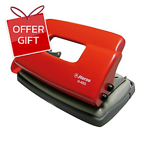 HORSE H-480 2 HOLE PAPER PUNCH ASSORTED COLOURS