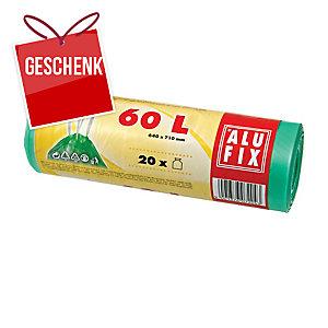 Müllbeutel mit Zugband, Füllmenge 60 l, 15 Mikron, grün, 20 Stück