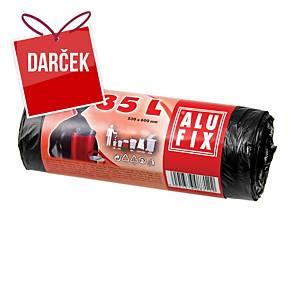 Vrecia na odpadky Alufix 35 l, čierne, nezaťahovacie, 30 kusov