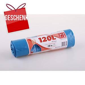 Alufix Müllbeutel HDPE Polyethylen mit Zugband, 120 l blau