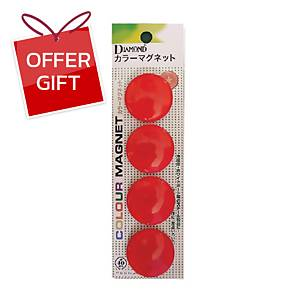 DM-40 Magnetic Beans Round 40mm Red - Pack of 4