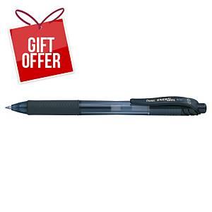 Pentel Energel BL107 Retractable Gel Ink Rollerball Pen Black - Box of 12