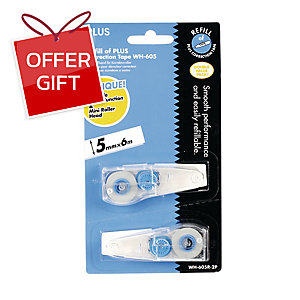 PLUS WH-605R REFILL CORRECTION TAPE 5 MM X 6 M - PACK OF 2