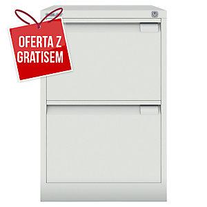 Szafa kartotekowa BISLEY, 2 szuflady, waga 32 kg, 71 x 47 x 62 cm, biała