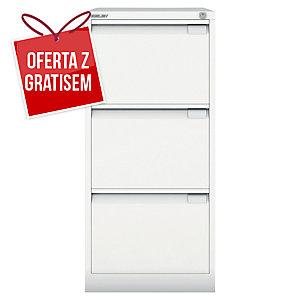 Szafa kartotekowa BISLEY, 3 szuflady, waga 46 kg, 102 x 47 x 62 cm, biała