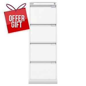 Bisley White 4-Drawer Foolscap Filing Cabinet