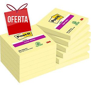 Pack 12 Blocos notas adesivas Post-it Super Sticky amarelo 76x76mm