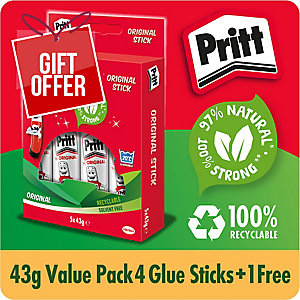 PRITT GLUE STICK MULTI-PACK LARGE 43G - PACK OF 5