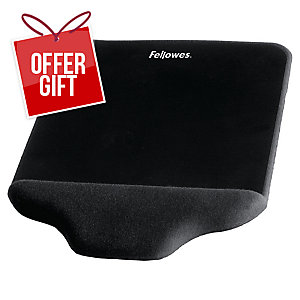 Fellowes Plush Touch Mouse Pad Wrist Support Black