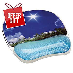 Fellowes Tropical Beach Photo Mouse Pad Wrist Support