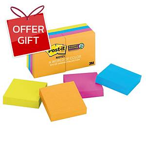 POST-IT 622-8SSAU SUPER STICKY NOTES 2  X 2  - ASSORTED COLOURS - PACK OF 8
