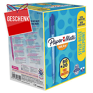 Paper Mate® Inkjoy 100RT Kugelschreiber, 80 + 20 Stück gratis, blau