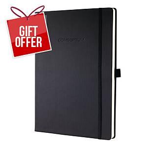 Sigel CO112 Hard Cover Notebook A4 Ruled Black