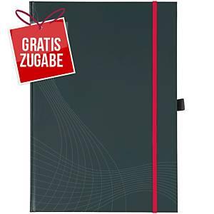 Notizbuch notizio 7029,gebunden, kariert, DIN A4, 90 g/m², 80 Blatt, d.grau