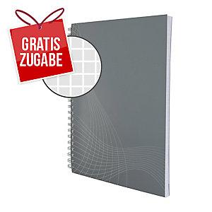 Notizbuch notizio 7011, spiralgebunden, kariert, DIN A5, hellgrau