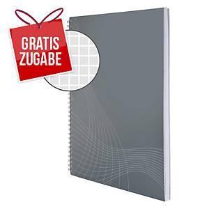 Papier-Cover Notizbuch notizio 7013, spiralgebunden, kariert, DIN A4, hellgrau