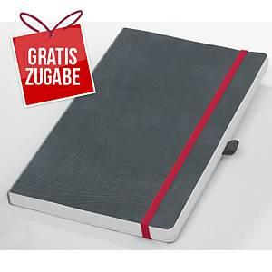 Notizbuch notizio 7019, gebunden, kariert, DIN A5, 90 g/m², 80 Blatt, grau