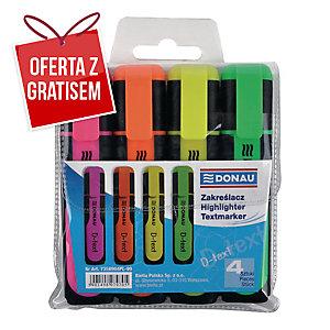 Zakreślacz fluorescencyjny DONAU 7358904PL-99 miks kolorów, opakowanie 4 sztuki