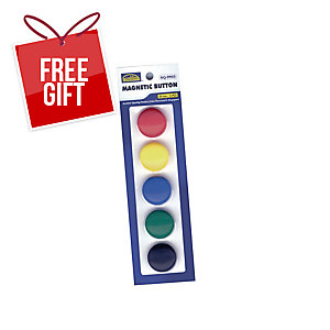 SUREMARK ASSORTED COLOUR BUTTON MAGNET 30MM - PACK OF 5